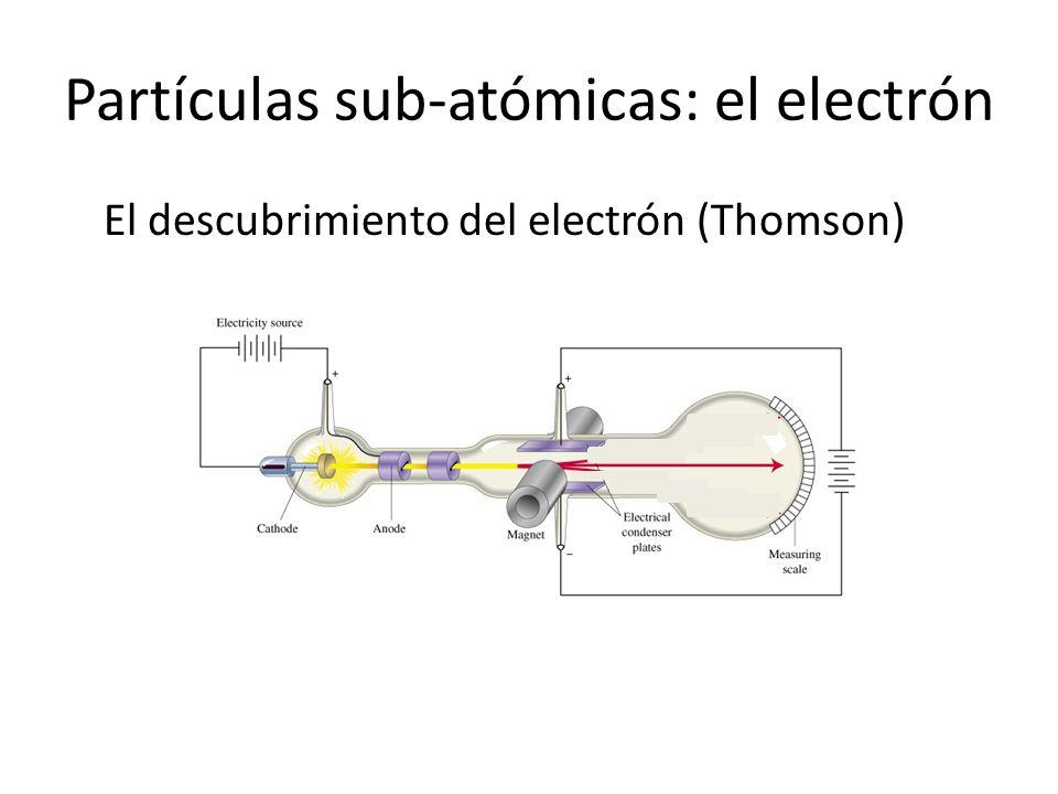 Partículas sub-atómicas: el electrón El descubrimiento del electrón (Thomson)