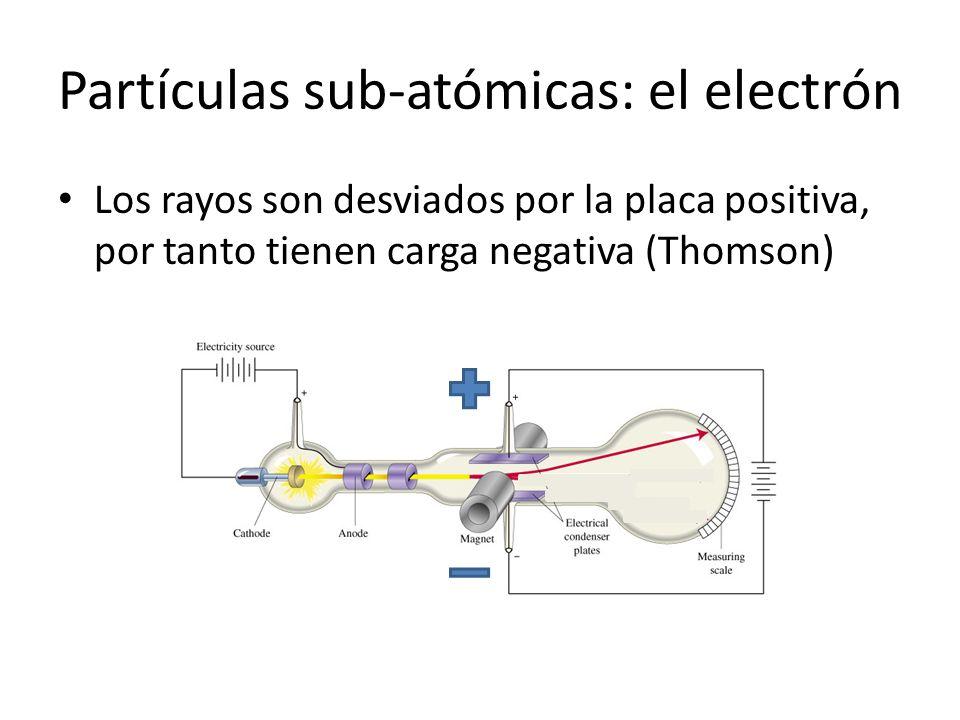 Partículas sub-atómicas: el electrón Los rayos son desviados por la placa positiva, por tanto tienen carga negativa (Thomson)