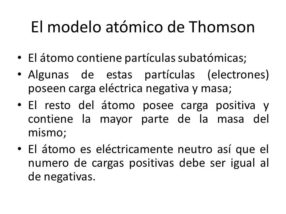 El modelo atómico de Thomson El átomo contiene partículas subatómicas; Algunas de estas partículas (electrones) poseen carga eléctrica negativa y masa