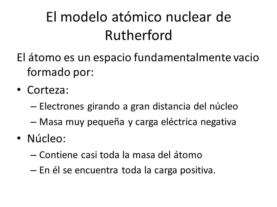 El átomo es un espacio fundamentalmente vacio formado por: Corteza: – Electrones girando a gran distancia del núcleo – Masa muy pequeña y carga eléctr