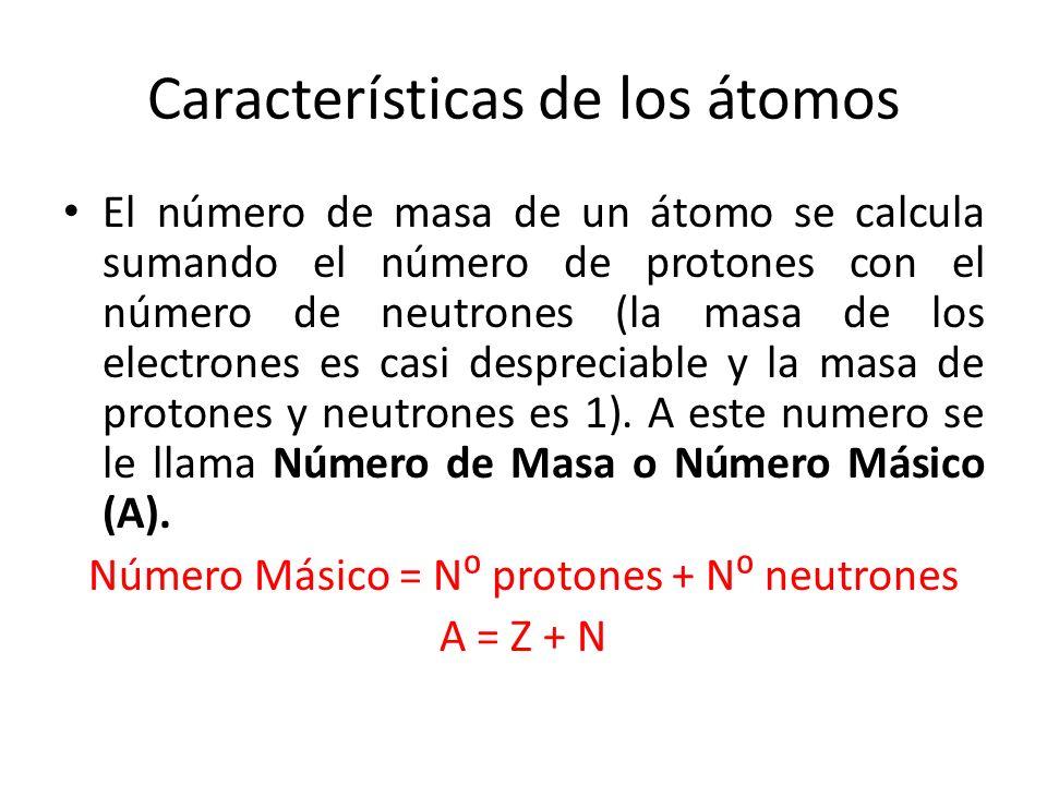 Características de los átomos El número de masa de un átomo se calcula sumando el número de protones con el número de neutrones (la masa de los electr