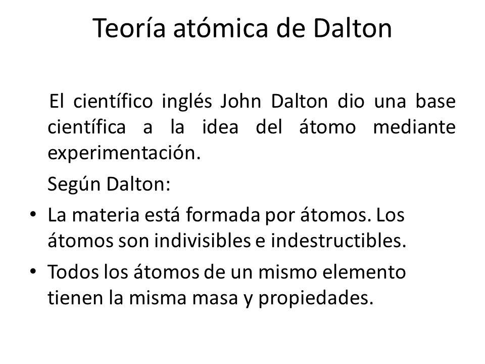 Teoría atómica de Dalton El científico inglés John Dalton dio una base científica a la idea del átomo mediante experimentación. Según Dalton: La mater
