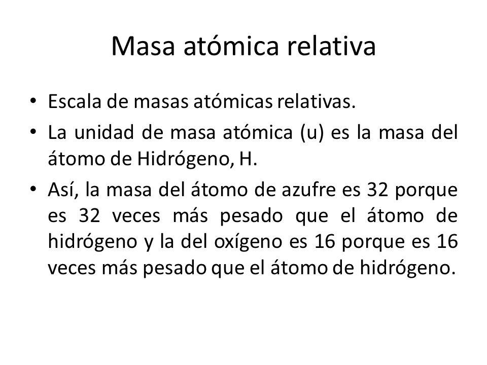 Masa atómica relativa Escala de masas atómicas relativas. La unidad de masa atómica (u) es la masa del átomo de Hidrógeno, H. Así, la masa del átomo d