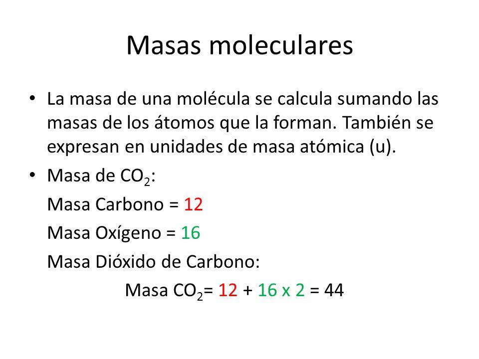 Masas moleculares La masa de una molécula se calcula sumando las masas de los átomos que la forman. También se expresan en unidades de masa atómica (u