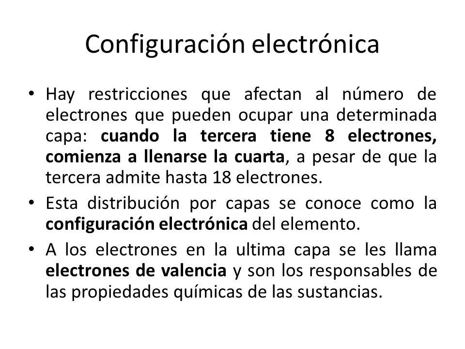 Configuración electrónica Hay restricciones que afectan al número de electrones que pueden ocupar una determinada capa: cuando la tercera tiene 8 elec
