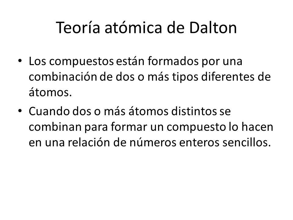 Teoría atómica de Dalton Los compuestos están formados por una combinación de dos o más tipos diferentes de átomos. Cuando dos o más átomos distintos