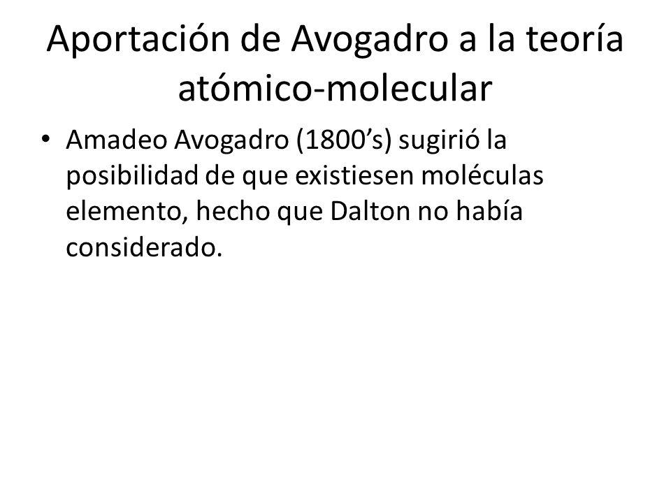 Aportación de Avogadro a la teoría atómico-molecular Amadeo Avogadro (1800s) sugirió la posibilidad de que existiesen moléculas elemento, hecho que Da