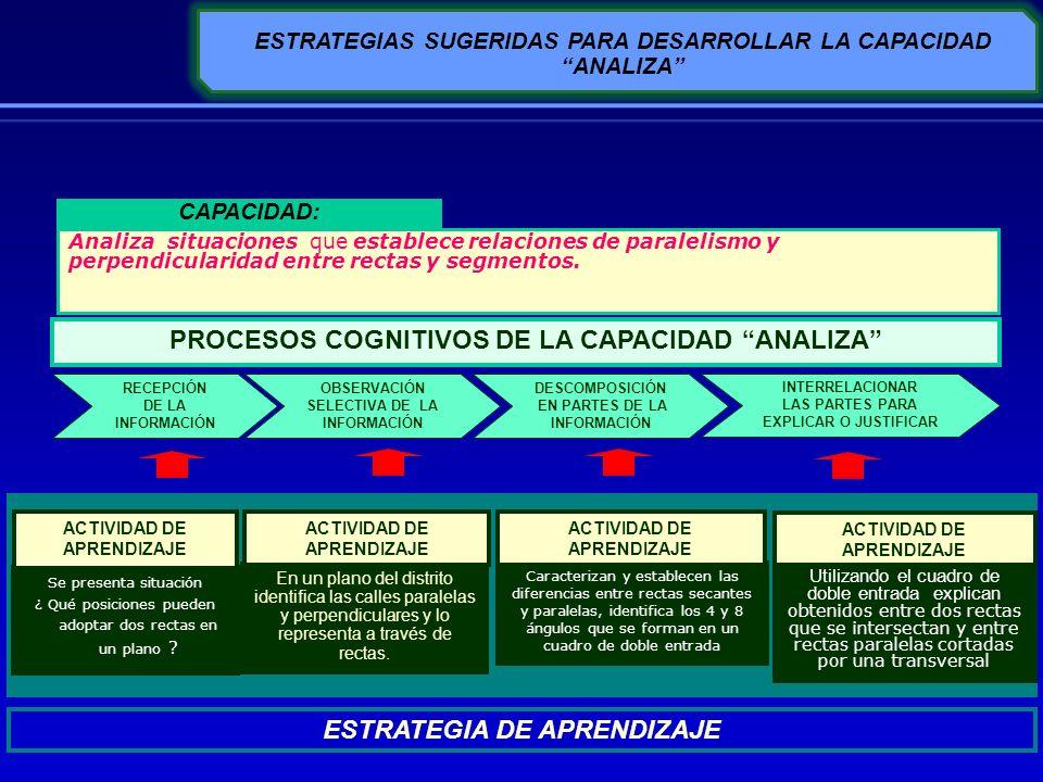 ESTRATEGIAS SUGERIDAS PARA DESARROLLAR LA CAPACIDAD ANALIZA DESCOMPOSICIÓN EN PARTES DE LA INFORMACIÓN INTERRELACIONAR LAS PARTES PARA EXPLICAR O JUST
