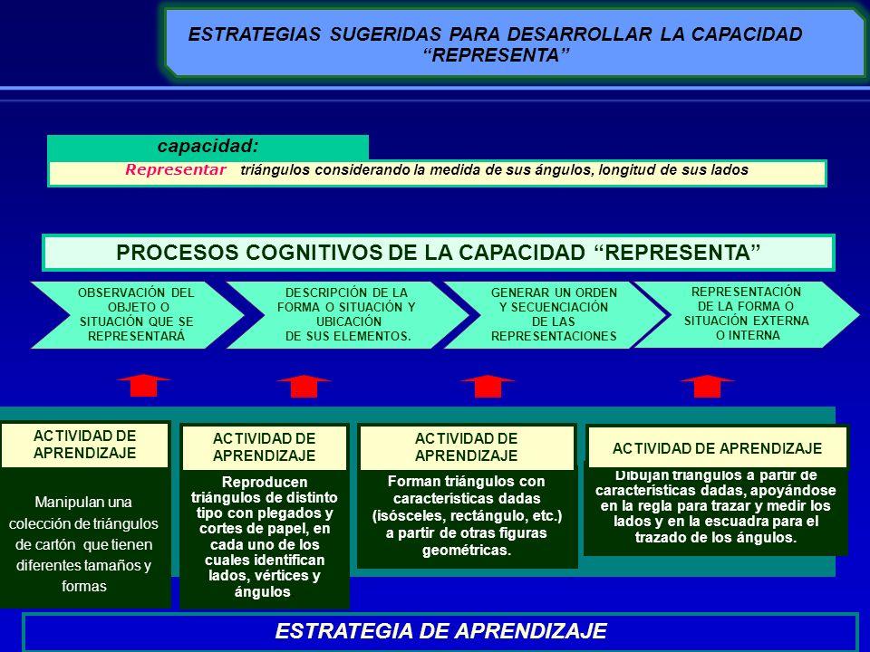 ESTRATEGIAS SUGERIDAS PARA DESARROLLAR LA CAPACIDAD REPRESENTA GENERAR UN ORDEN Y SECUENCIACIÓN DE LAS REPRESENTACIONES ESTRATEGIA DE APRENDIZAJE Mani