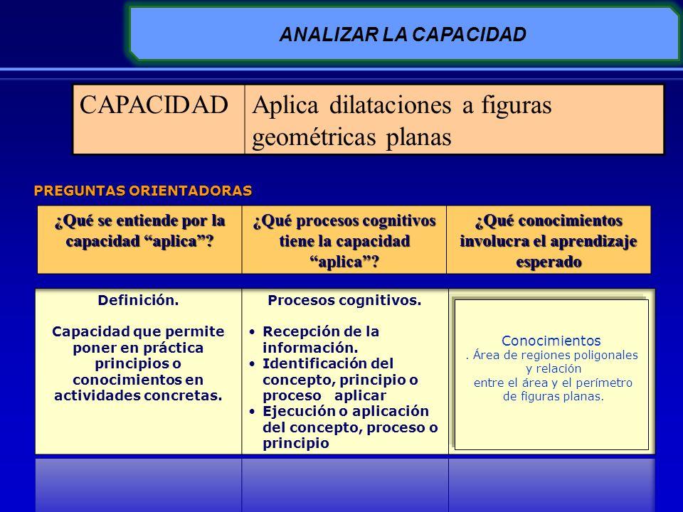 ANALIZAR LA CAPACIDAD ¿Qué se entiende por la capacidad aplica? ¿Qué procesos cognitivos tiene la capacidad aplica? ¿Qué conocimientos involucra el ap