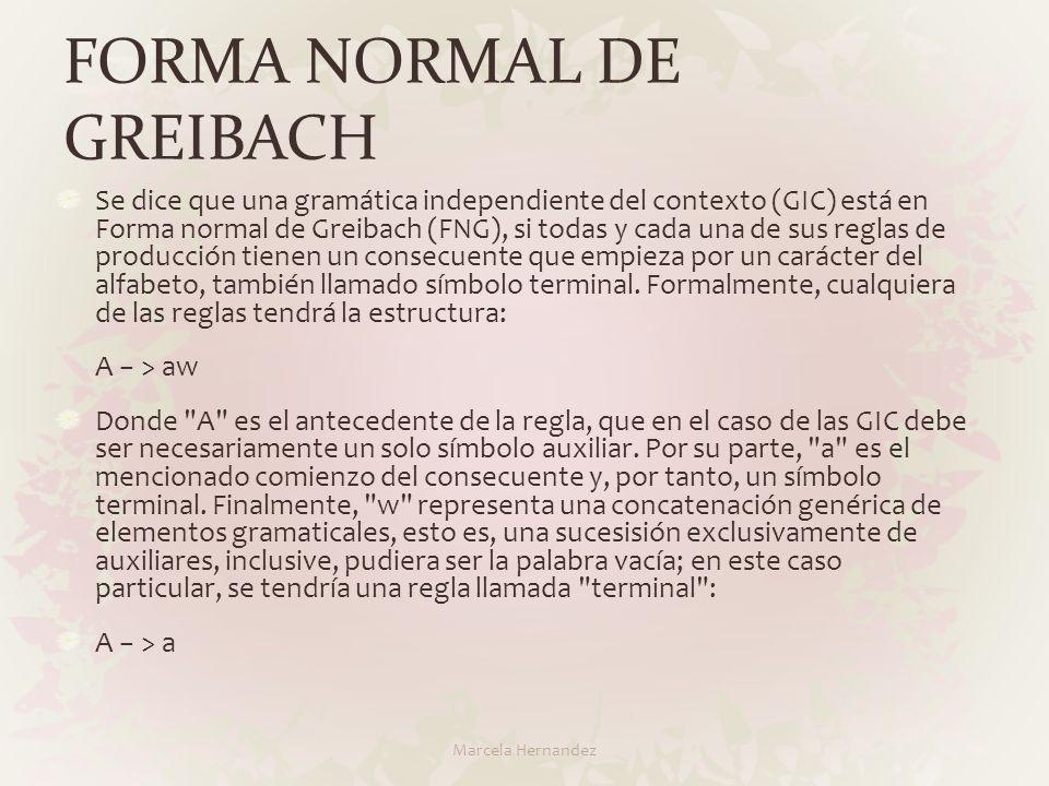 FORMA NORMAL DE GREIBACH Se dice que una gramática independiente del contexto (GIC) está en Forma normal de Greibach (FNG), si todas y cada una de sus