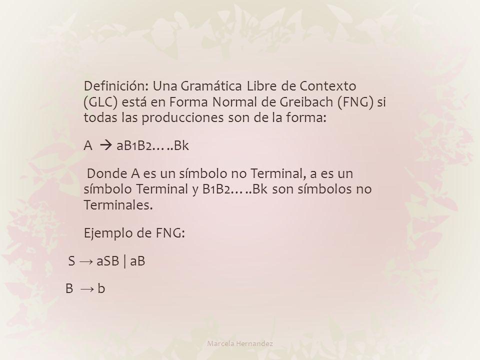 Definición: Una Gramática Libre de Contexto (GLC) está en Forma Normal de Greibach (FNG) si todas las producciones son de la forma: A aB1B2…..Bk Donde