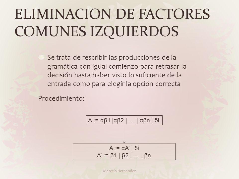 ELIMINACION DE FACTORES COMUNES IZQUIERDOS Marcela Hernandez Se trata de rescribir las producciones de la gramática con igual comienzo para retrasar l