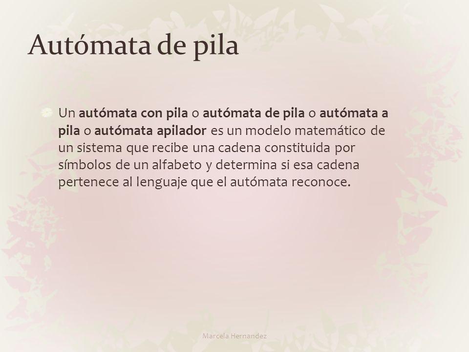 Autómata de pila Un autómata con pila o autómata de pila o autómata a pila o autómata apilador es un modelo matemático de un sistema que recibe una ca