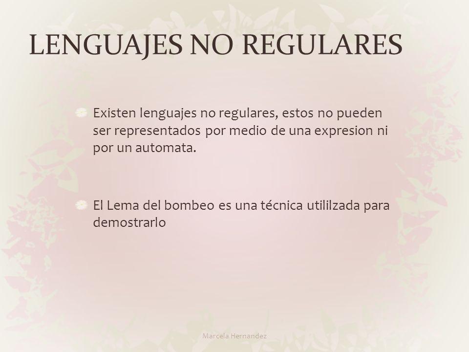 LENGUAJES NO REGULARES Existen lenguajes no regulares, estos no pueden ser representados por medio de una expresion ni por un automata. El Lema del bo