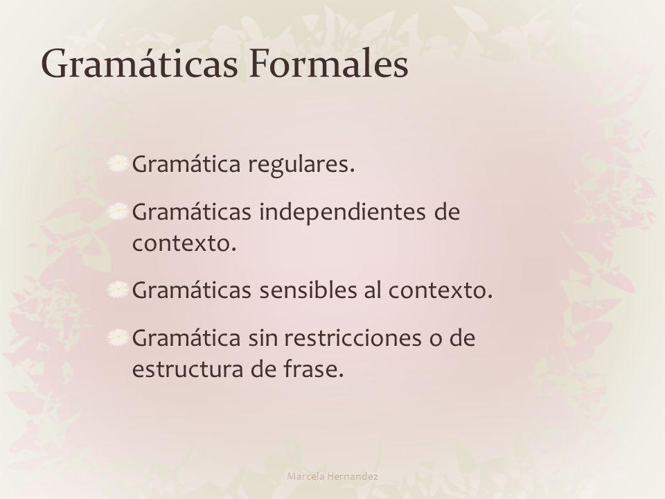 Gramáticas Formales Gramática regulares. Gramáticas independientes de contexto. Gramáticas sensibles al contexto. Gramática sin restricciones o de est