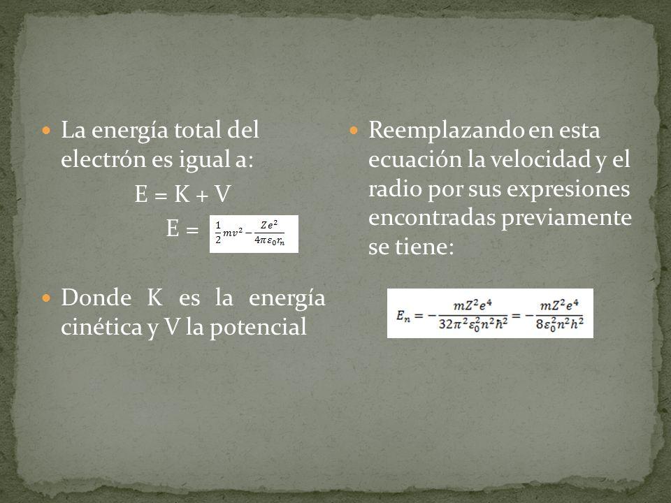 La energía total del electrón es igual a: E = K + V E = Donde K es la energía cinética y V la potencial Reemplazando en esta ecuación la velocidad y e