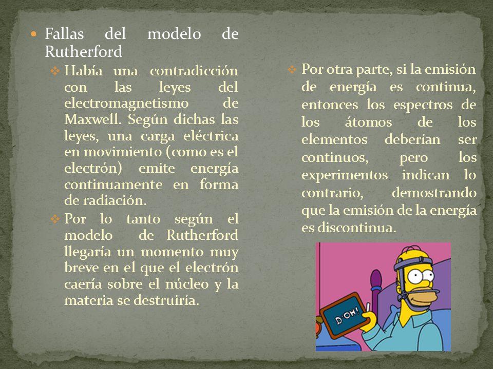 Fallas del modelo de Rutherford Había una contradicción con las leyes del electromagnetismo de Maxwell. Según dichas las leyes, una carga eléctrica en