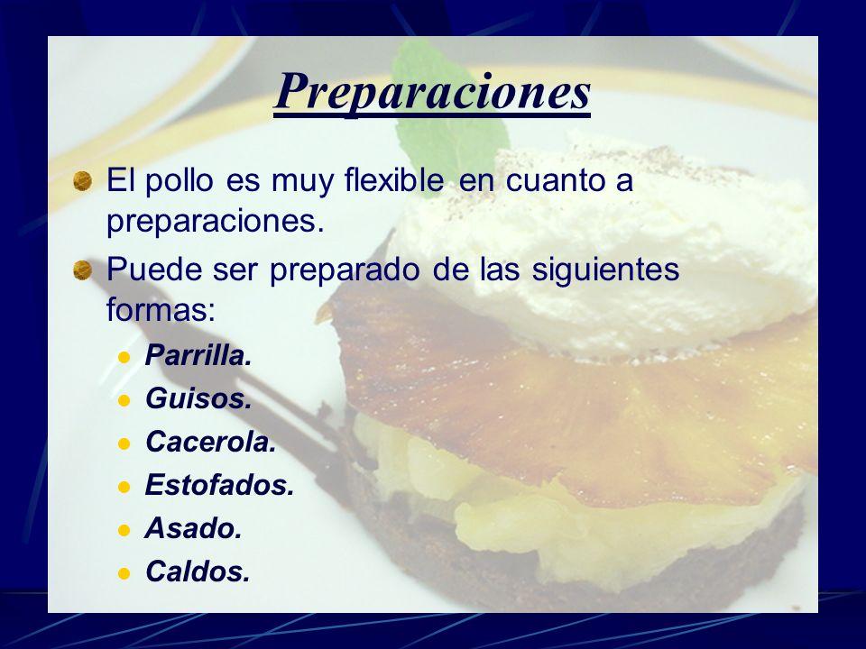 Preparaciones El pollo es muy flexible en cuanto a preparaciones. Puede ser preparado de las siguientes formas: Parrilla. Guisos. Cacerola. Estofados.