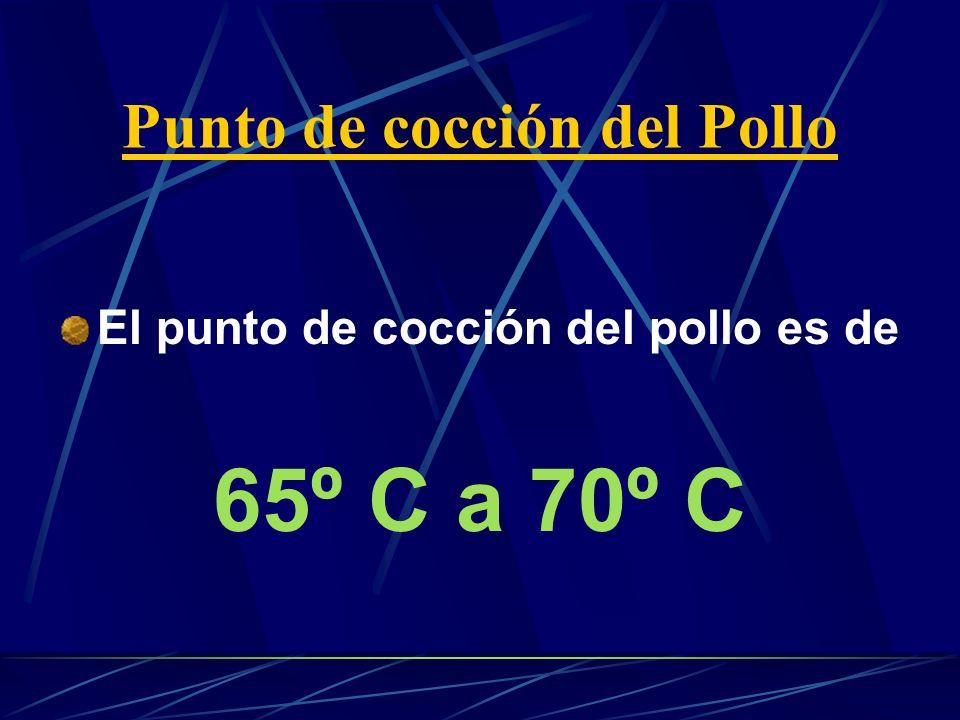 Punto de cocción del Pollo El punto de cocción del pollo es de 65º C a 70º C