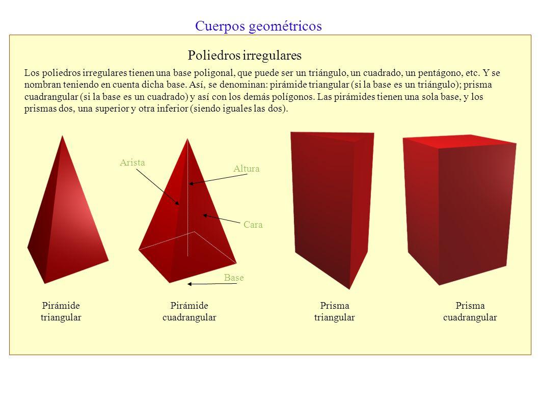 Cuerpos geométricos Los cuerpos geométricos se clasifican de acuerdo a la forma de sus caras: - Cuerpos poliedros. Son aquellos que tienen todas sus c