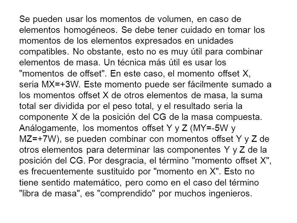 Se pueden usar los momentos de volumen, en caso de elementos homogéneos. Se debe tener cuidado en tomar los momentos de los elementos expresados en un