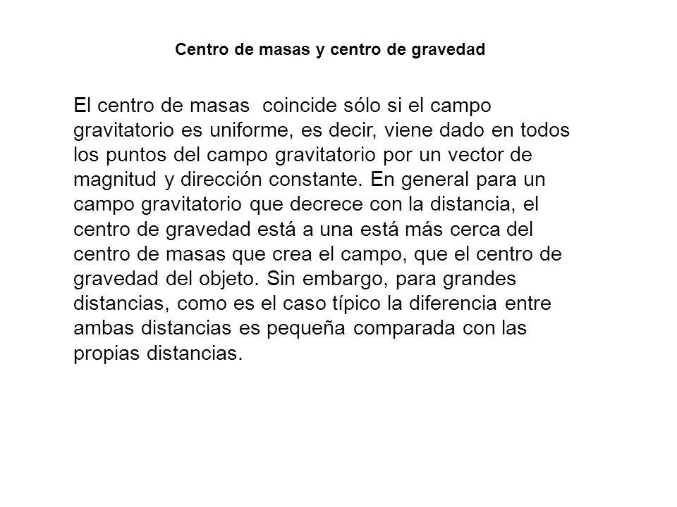 El centro de masas coincide sólo si el campo gravitatorio es uniforme, es decir, viene dado en todos los puntos del campo gravitatorio por un vector d