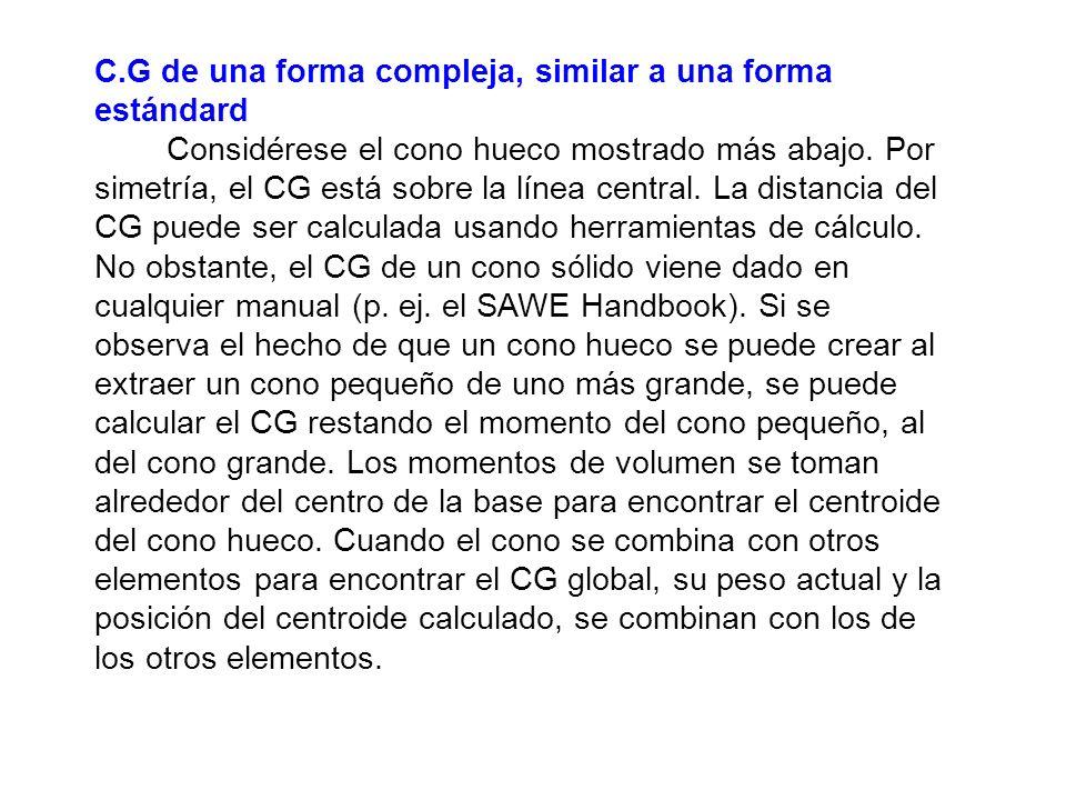 C.G de una forma compleja, similar a una forma estándard Considérese el cono hueco mostrado más abajo. Por simetría, el CG está sobre la línea central