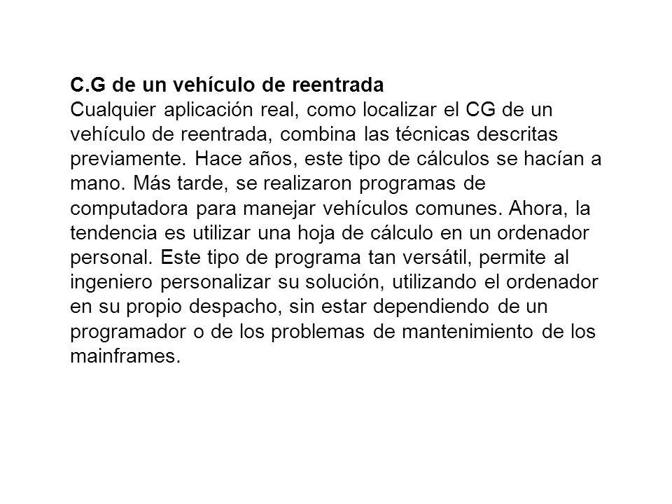 C.G de un vehículo de reentrada Cualquier aplicación real, como localizar el CG de un vehículo de reentrada, combina las técnicas descritas previament