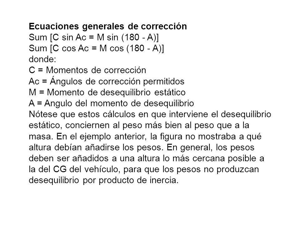 Ecuaciones generales de corrección Sum [C sin Ac = M sin (180 - A)] Sum [C cos Ac = M cos (180 - A)] donde: C = Momentos de corrección Ac = Ángulos de