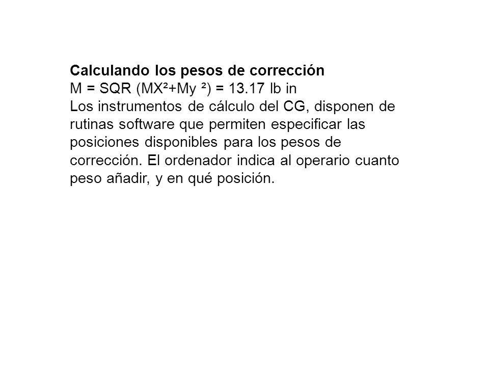 Calculando los pesos de corrección M = SQR (MX²+My ²) = 13.17 lb in Los instrumentos de cálculo del CG, disponen de rutinas software que permiten espe