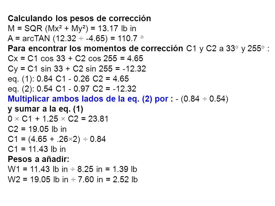 Calculando los pesos de corrección M = SQR (Mx² + My²) = 13.17 lb in A = arcTAN (12.32 ÷ -4.65) = 110.7 ° Para encontrar los momentos de corrección C1