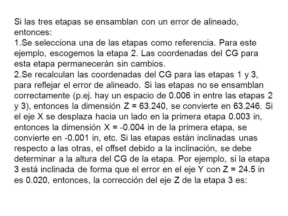 Si las tres etapas se ensamblan con un error de alineado, entonces: 1.Se selecciona una de las etapas como referencia. Para este ejemplo, escogemos la