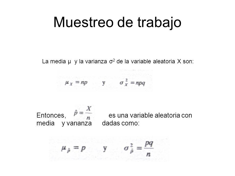 Muestreo de trabajo La media μ y la varianza σ 2 de la variable aleatoria X son: Entonces, es una variable aleatoria con media y varianza dadas como: