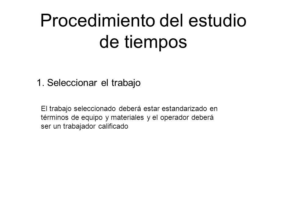 Procedimientos para el establecimiento de un estándar predeterminado 1.