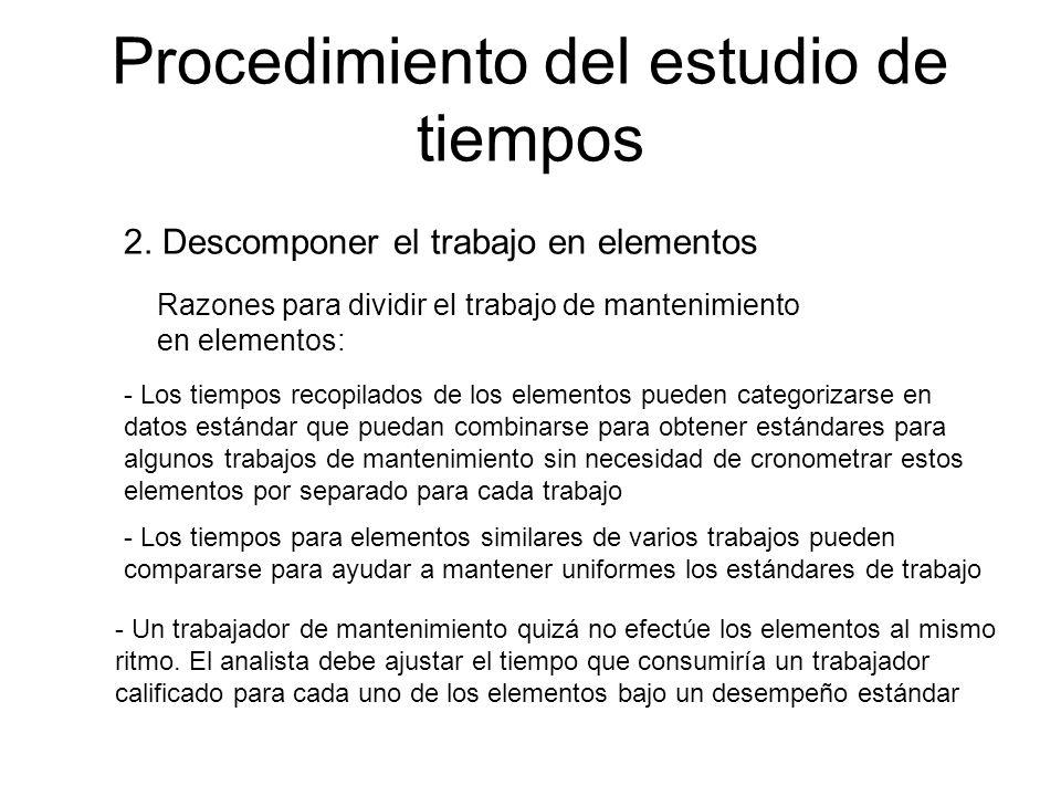 Procedimiento del estudio de tiempos 2. Descomponer el trabajo en elementos Razones para dividir el trabajo de mantenimiento en elementos: - Los tiemp