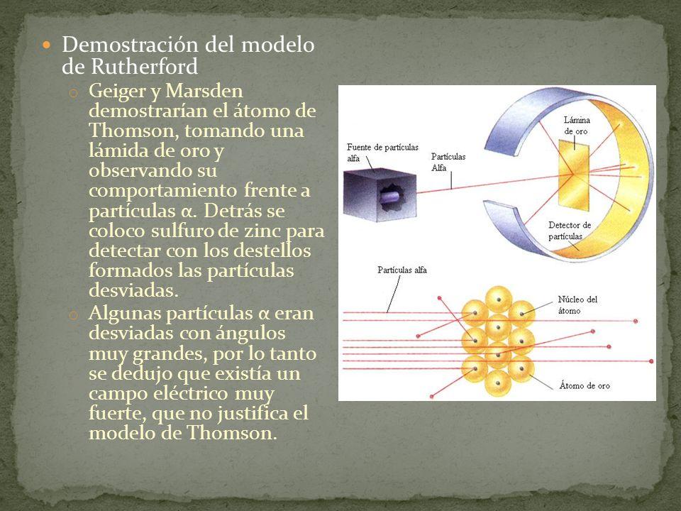 Demostración del modelo de Rutherford o Geiger y Marsden demostrarían el átomo de Thomson, tomando una lámida de oro y observando su comportamiento fr