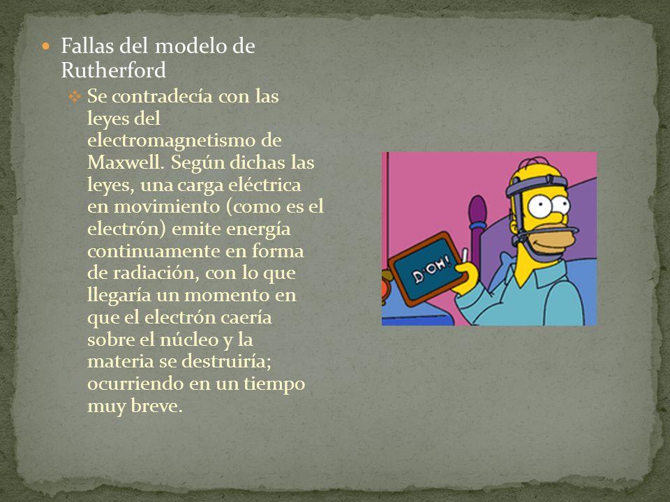 Fallas del modelo de Rutherford Se contradecía con las leyes del electromagnetismo de Maxwell. Según dichas las leyes, una carga eléctrica en movimien