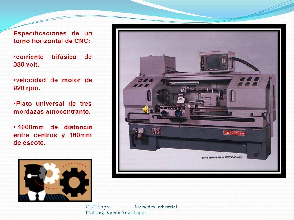 C.B.T.i.s 50 Mecánica Industrial Prof. Ing. Rubén Arias López DetalleUnidadSKT28SKT28LSKT28LM Volteo Máximomm.ø590ø650 Largo Máximo Torneablemm.7201.0