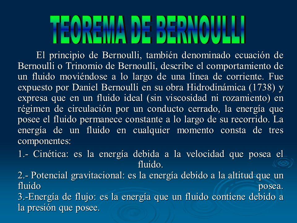 El principio de Bernoulli, también denominado ecuación de Bernoulli o Trinomio de Bernoulli, describe el comportamiento de un fluido moviéndose a lo l
