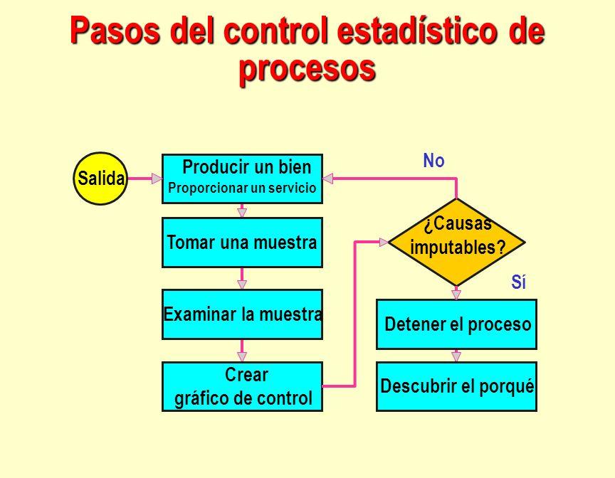 Producir un bien Proporcionar un servicio Detener el proceso Sí No ¿Causas imputables? Tomar una muestra Examinar la muestra Descubrir el porqué Crear