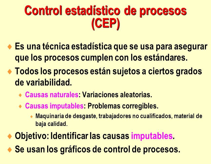 Es una técnica estadística que se usa para asegurar que los procesos cumplen con los estándares. Todos los procesos están sujetos a ciertos grados de