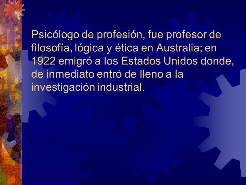 Psicólogo de profesión, fue profesor de filosofía, lógica y ética en Australia; en 1922 emigró a los Estados Unidos donde, de inmediato entró de lleno