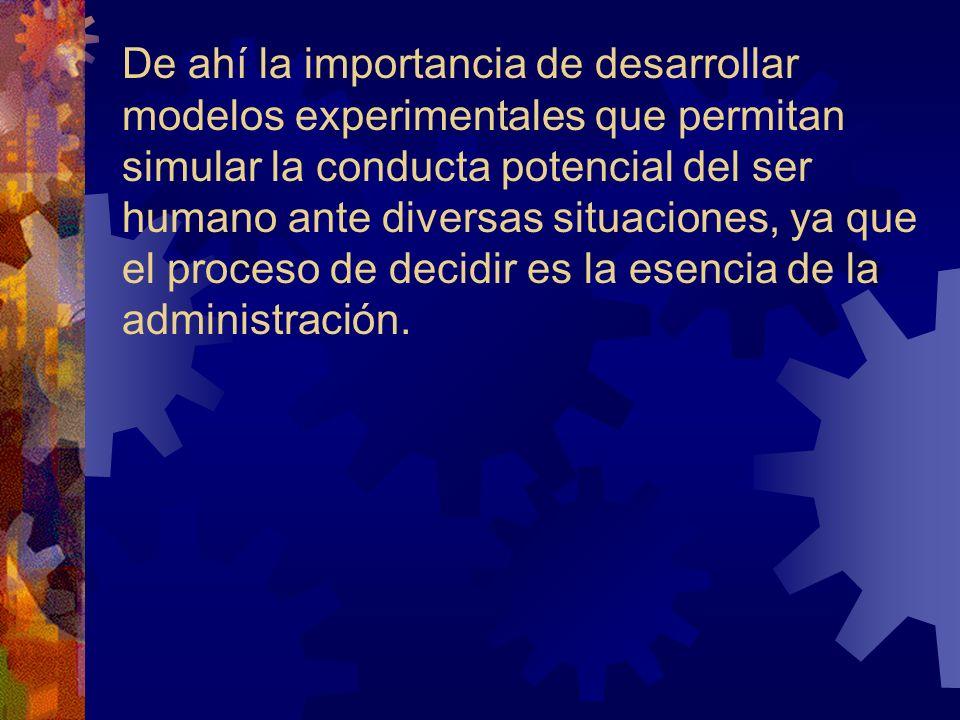 De ahí la importancia de desarrollar modelos experimentales que permitan simular la conducta potencial del ser humano ante diversas situaciones, ya qu