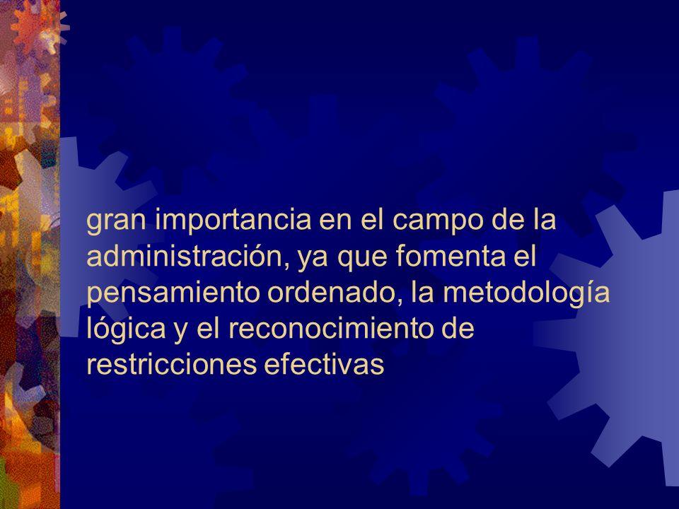 gran importancia en el campo de la administración, ya que fomenta el pensamiento ordenado, la metodología lógica y el reconocimiento de restricciones