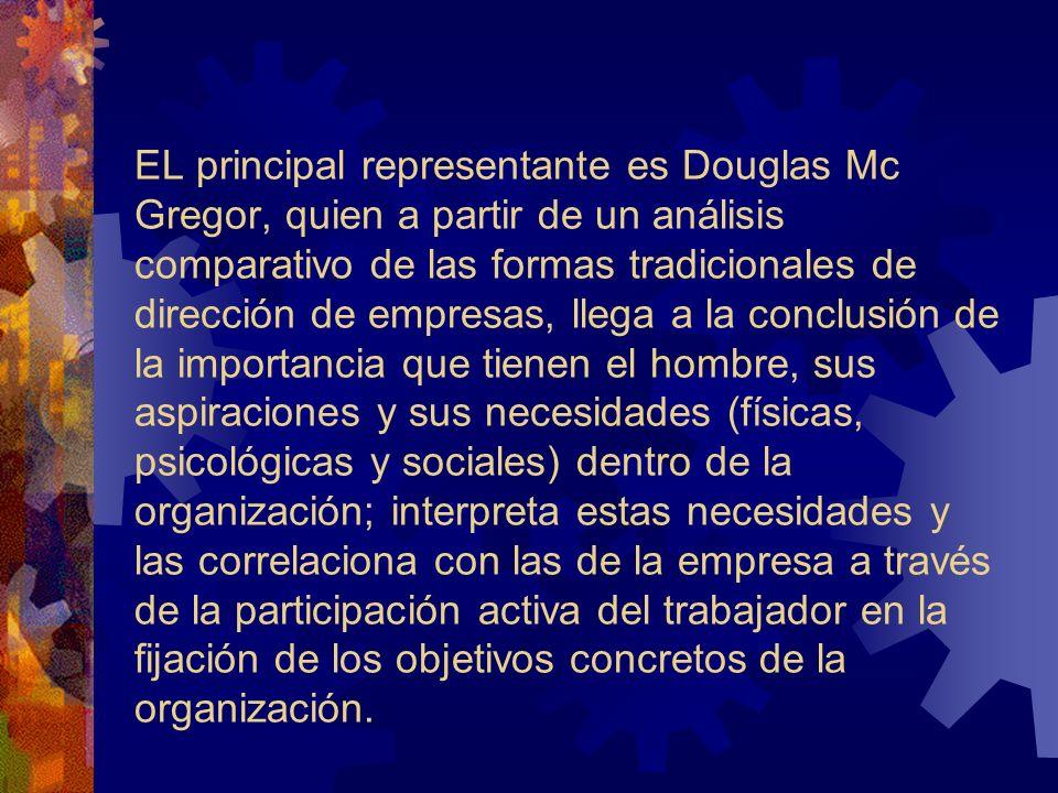 EL principal representante es Douglas Mc Gregor, quien a partir de un análisis comparativo de las formas tradicionales de dirección de empresas, llega