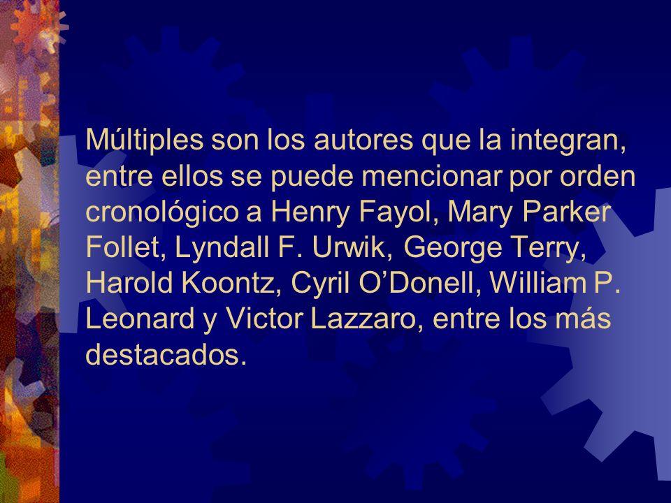 Múltiples son los autores que la integran, entre ellos se puede mencionar por orden cronológico a Henry Fayol, Mary Parker Follet, Lyndall F. Urwik, G