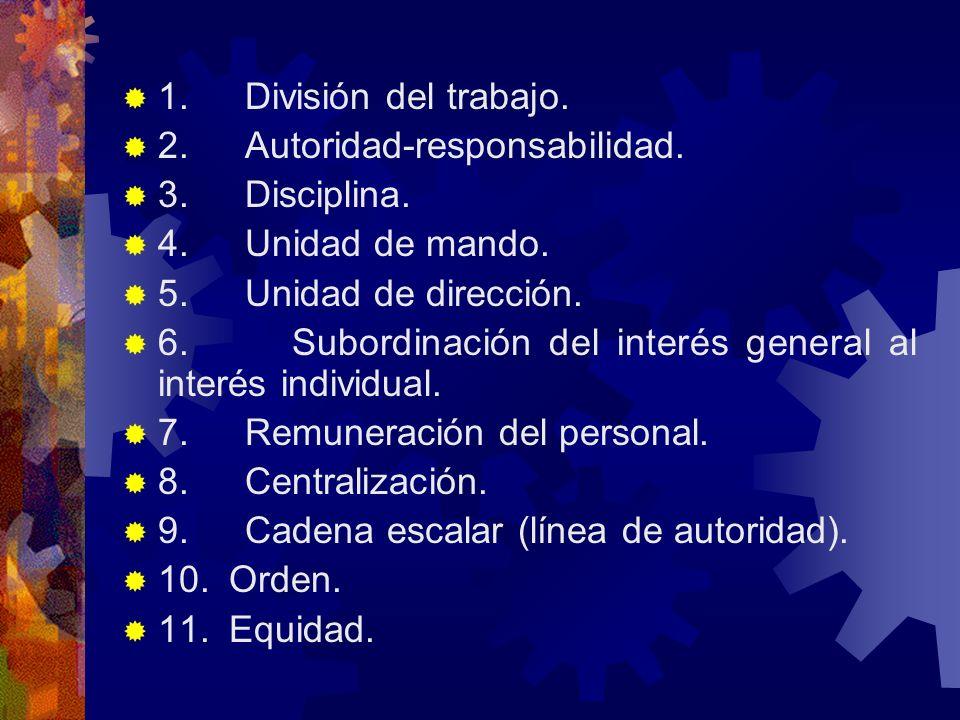 1. División del trabajo. 2. Autoridad-responsabilidad. 3. Disciplina. 4. Unidad de mando. 5. Unidad de dirección. 6. Subordinación del interés general