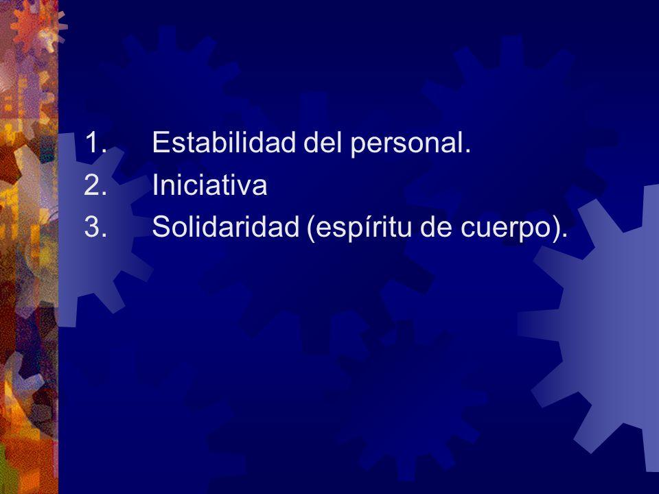 1. Estabilidad del personal. 2. Iniciativa 3. Solidaridad (espíritu de cuerpo).