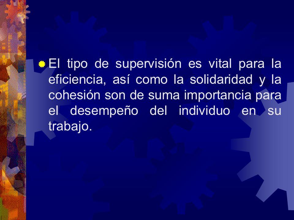 El tipo de supervisión es vital para la eficiencia, así como la solidaridad y la cohesión son de suma importancia para el desempeño del individuo en s